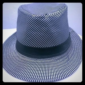 Black and White Stripe Fedora Hat